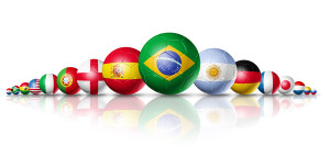 Soccer football balls group with teams flags / brazil soccer world cup 2014 symbol. isolated on white. Soccer football balls group with teams